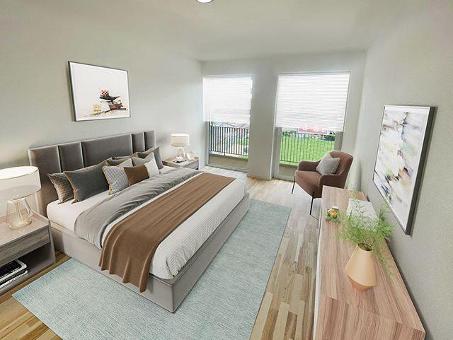 Fix & Flip - Digital möbliertes Schlafzimmer einer Wohnimmobilie
