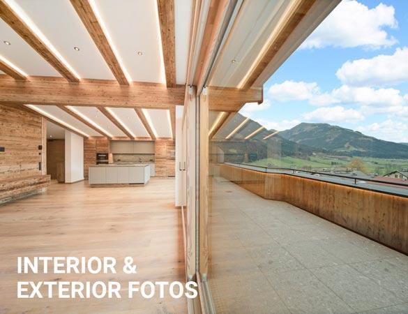 Innen- und Außenaufnahmen einer Immobilie