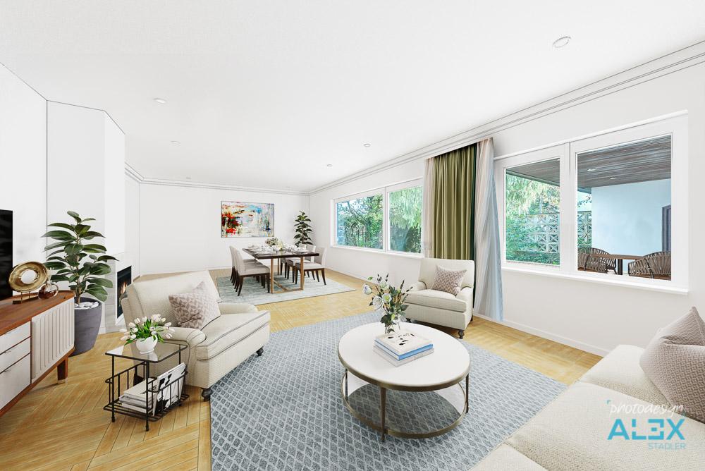 Digital möbliertes Wohnzimmer - Digital Home Staging