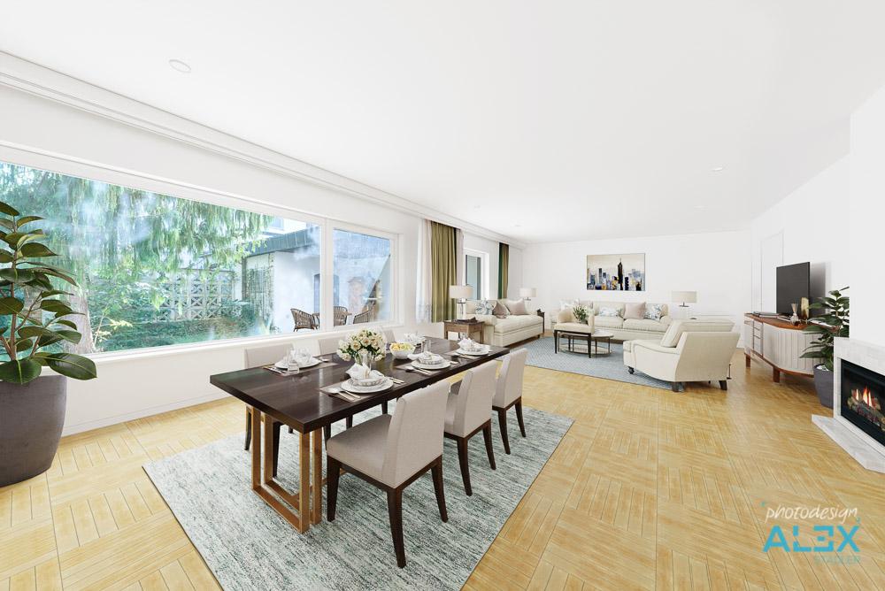 Wohn- & Esszimmer, Digital Möbliert