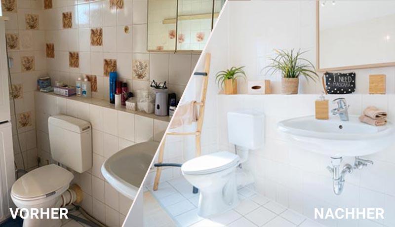 Vorher Nachher Home Staging eines Badezimmers